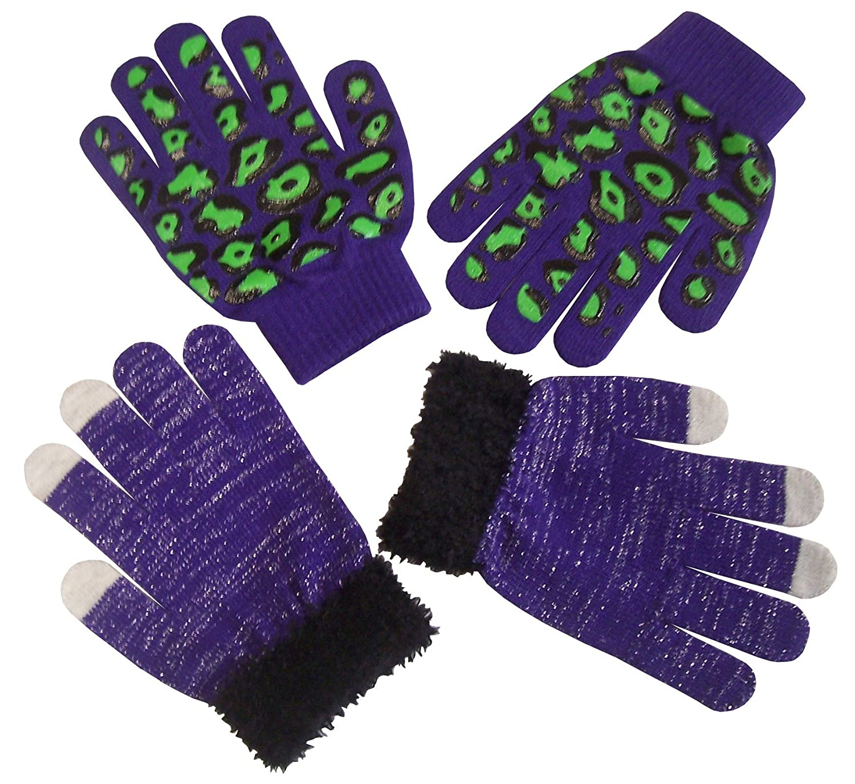 N'Ice Caps Girls Magic Stretch 2 Pair Pack Novelty Gloves fuchsia/silver) 214229M