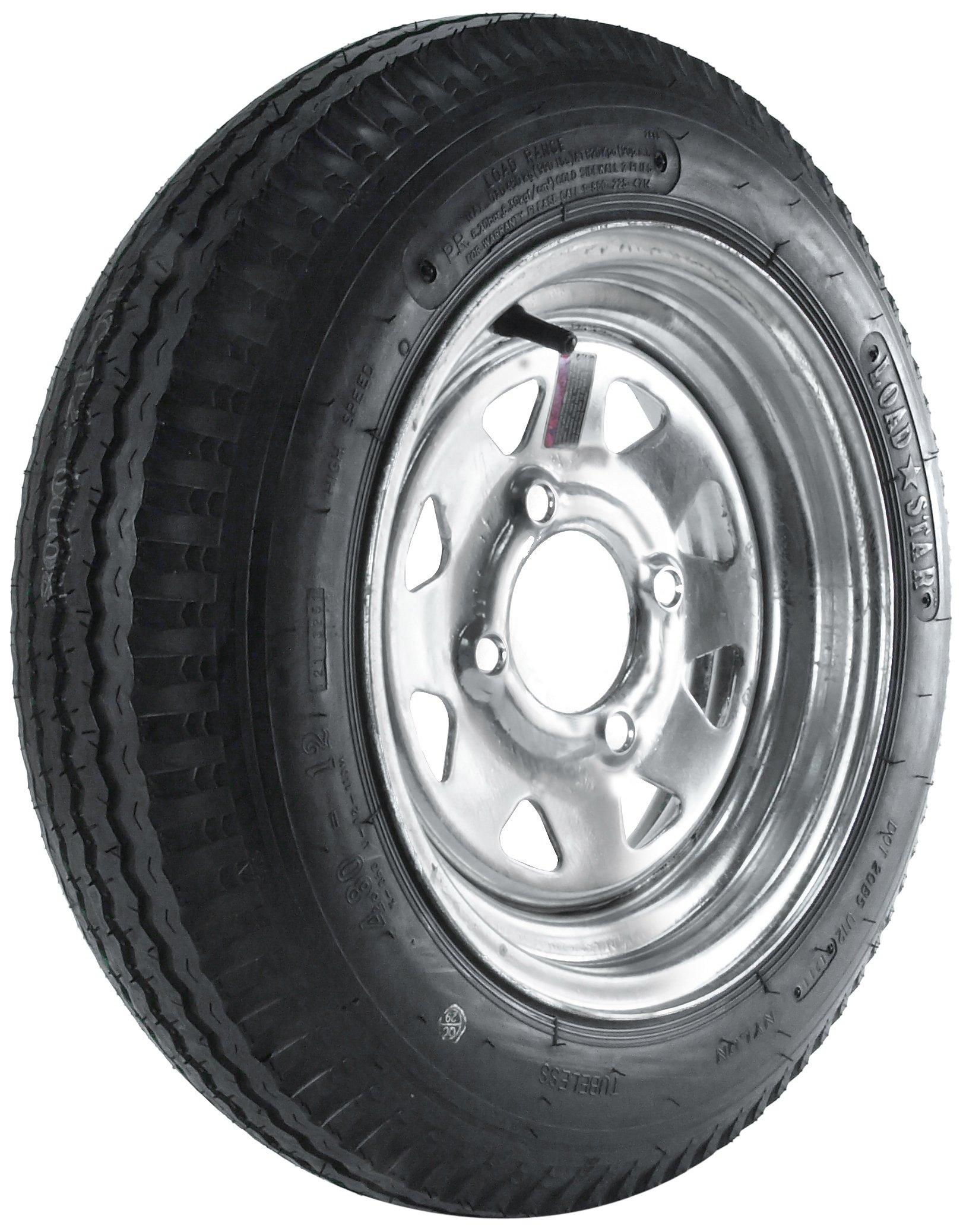 Kenda Loadstar (12x4/4x4) Galvanized Spoke Wheel with Steel Finish LRB and Trailer Tire Assembly (480-12)