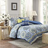 Home Essence – Taza 5 Piece Comforter Set- Grey, Yellow, Blue – Printed – Full / Queen Size – Includes comforter, shams and pillows