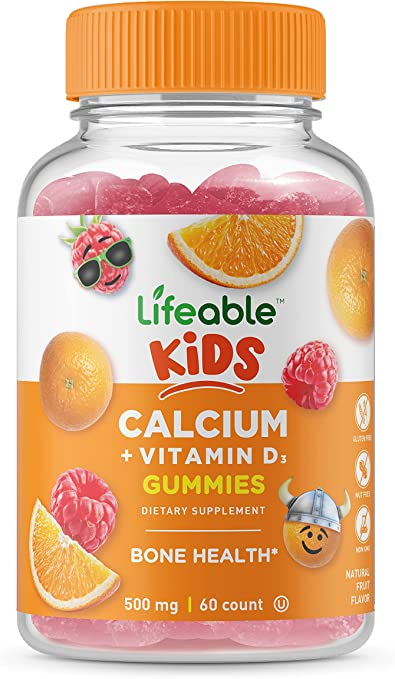 Lifeable Calcium Vitamin D Gummies for Kids – 500 mg – Great Tasting Natural Flavor Vitamin Supplements – Gluten Free GMO Free Chewable – for Bone Strength – for Children – 60 Gummies