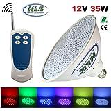 Wireless Control Color Changing LED Pool Light Bulb w/ RF Remote Fits Pentair and Hayward Light Fixture Niche PAR56 E26/E27 (35 Watt, 12 Volt)