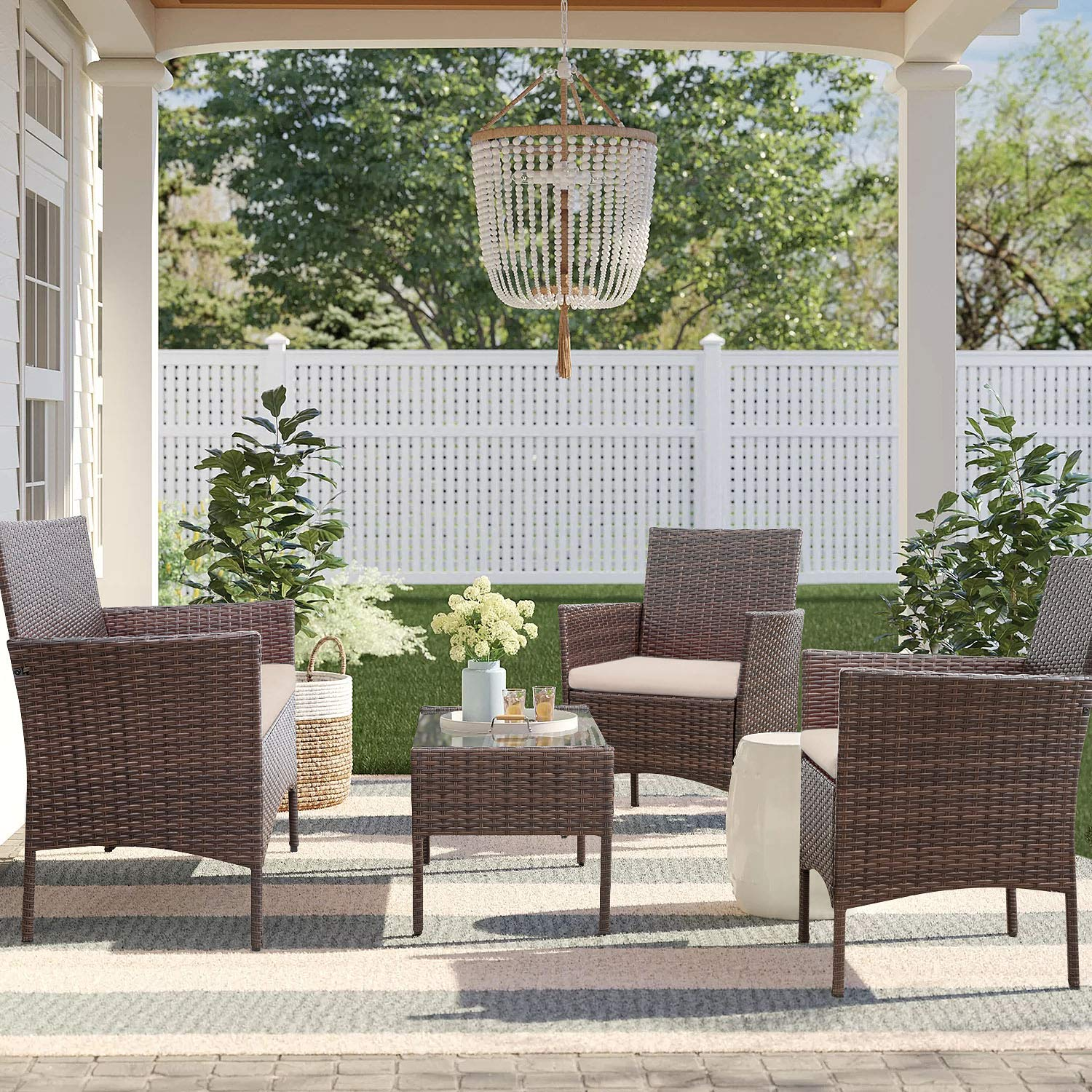 Homall 4 Pieces Outdoor Patio Furniture Sets Rattan Chair Wicker