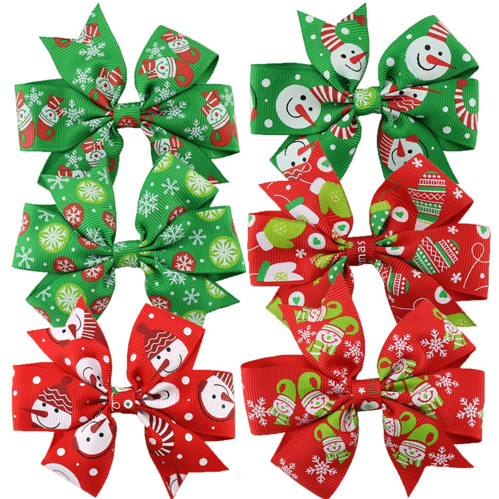6 PCS boutique kids bow polka dot hair bow for baby girls kids hair pin clips baby accessories (christmas hair bow), One size, christmas hair bow HBF