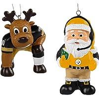 FOCO NFL Pittsburgh Steelers Unisex Reindeer Games Santa 2 Pack Ornament Set- Team Color