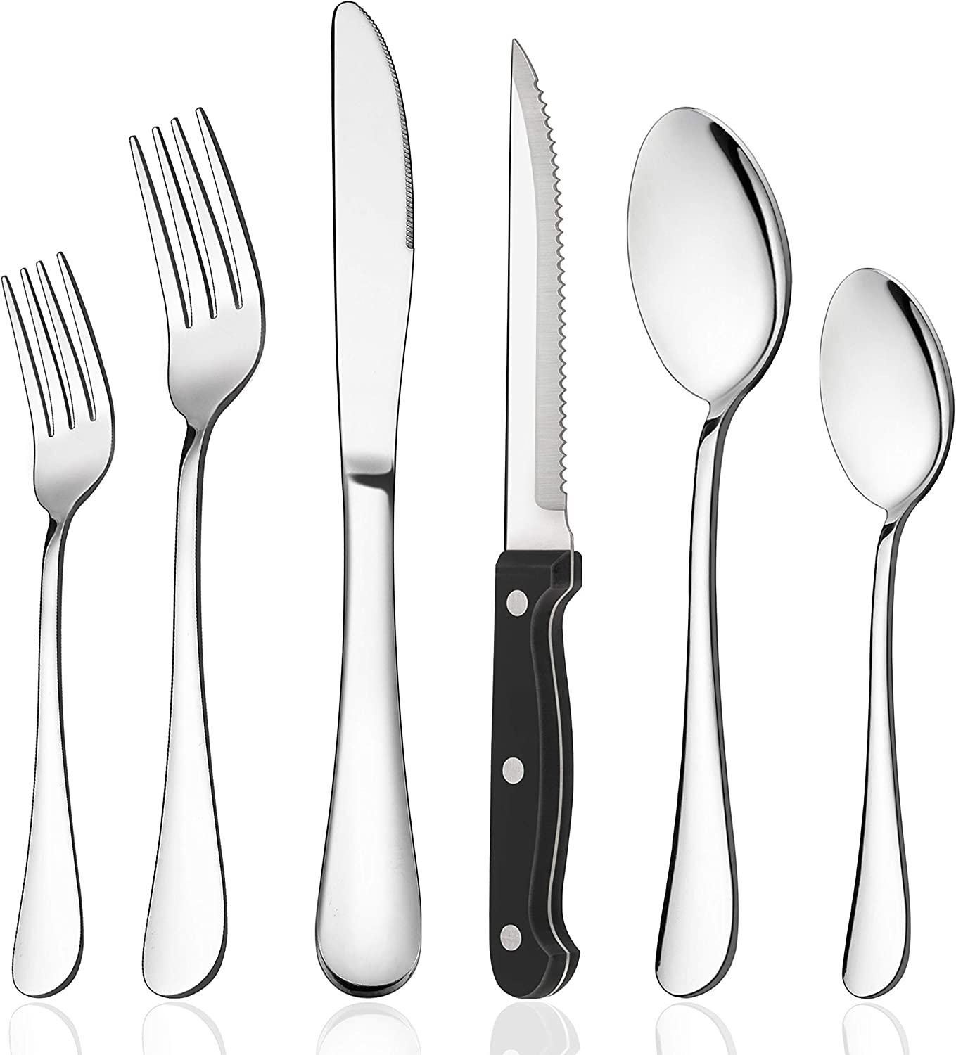 LIANYU 20-Piece Silverware Set with 4 Steak Knives, Stainless Steel Flatware Cutlery Eating Utensils for 4, Mirror Finish, Dishwasher Safe