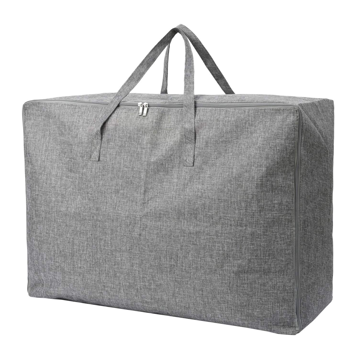 105L Extra Large Lead Free Storage Bag Organizer Tote Bag - Sturdy, No Smell, Moisture Proof Linen Fabric, Carrying Bag, Camping Bag, Clothes Bag for Bedding, Comforters, Pillows, House Moving. (Grey)