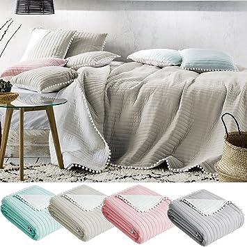 Jemidi Tagesdecke Bett Sofaüberwurf Bommel 220cm X 240cm