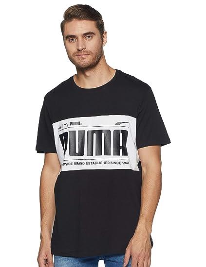 PUMA Herren T Shirt Graphic Logo Block Tee: