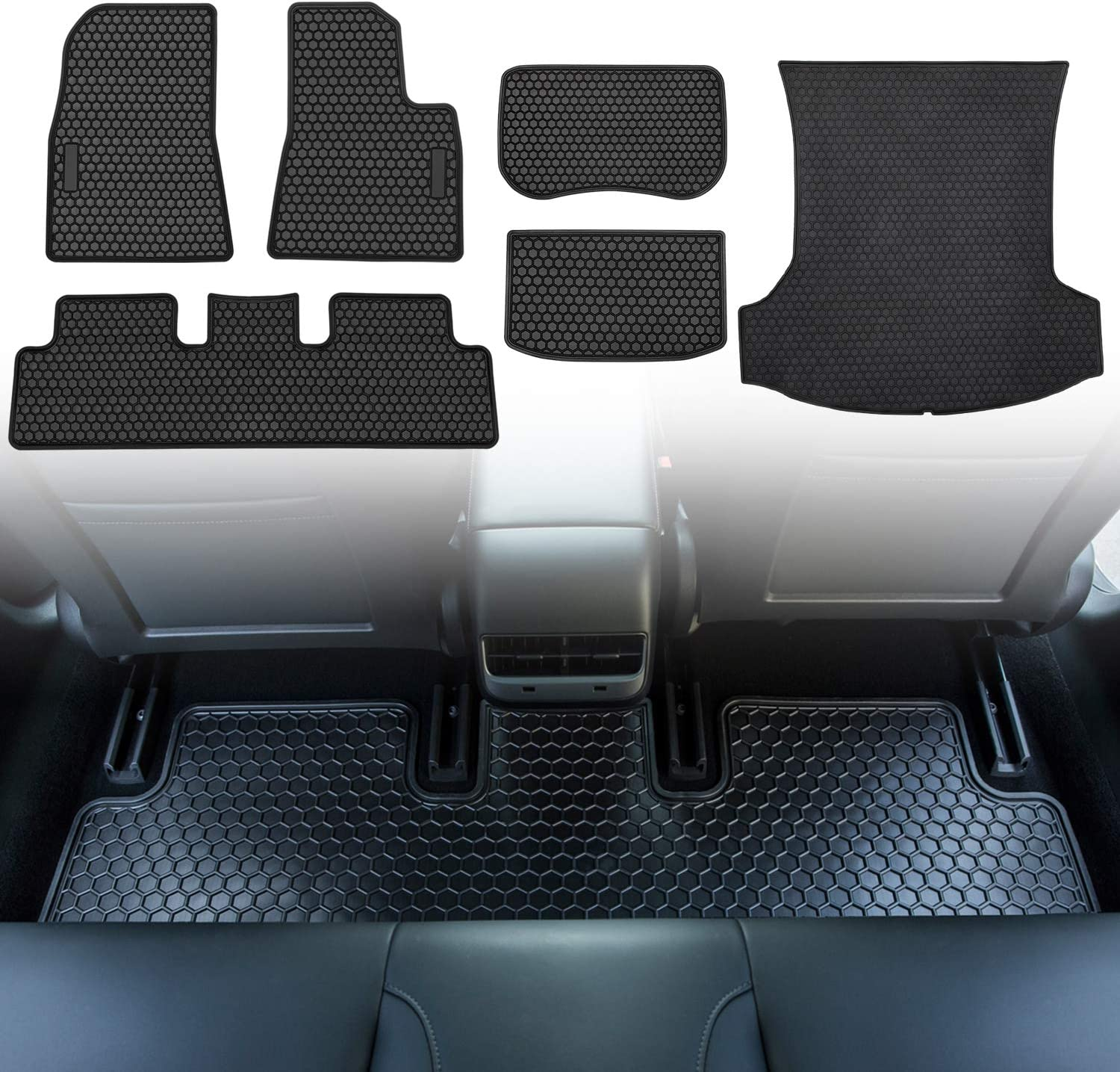 Custom Fit 6 pcs Front and Rear Floor Mat /& Cargo Liners All-Weather Vehicle Protector Rubber For Tesla Model 3 2017-2019