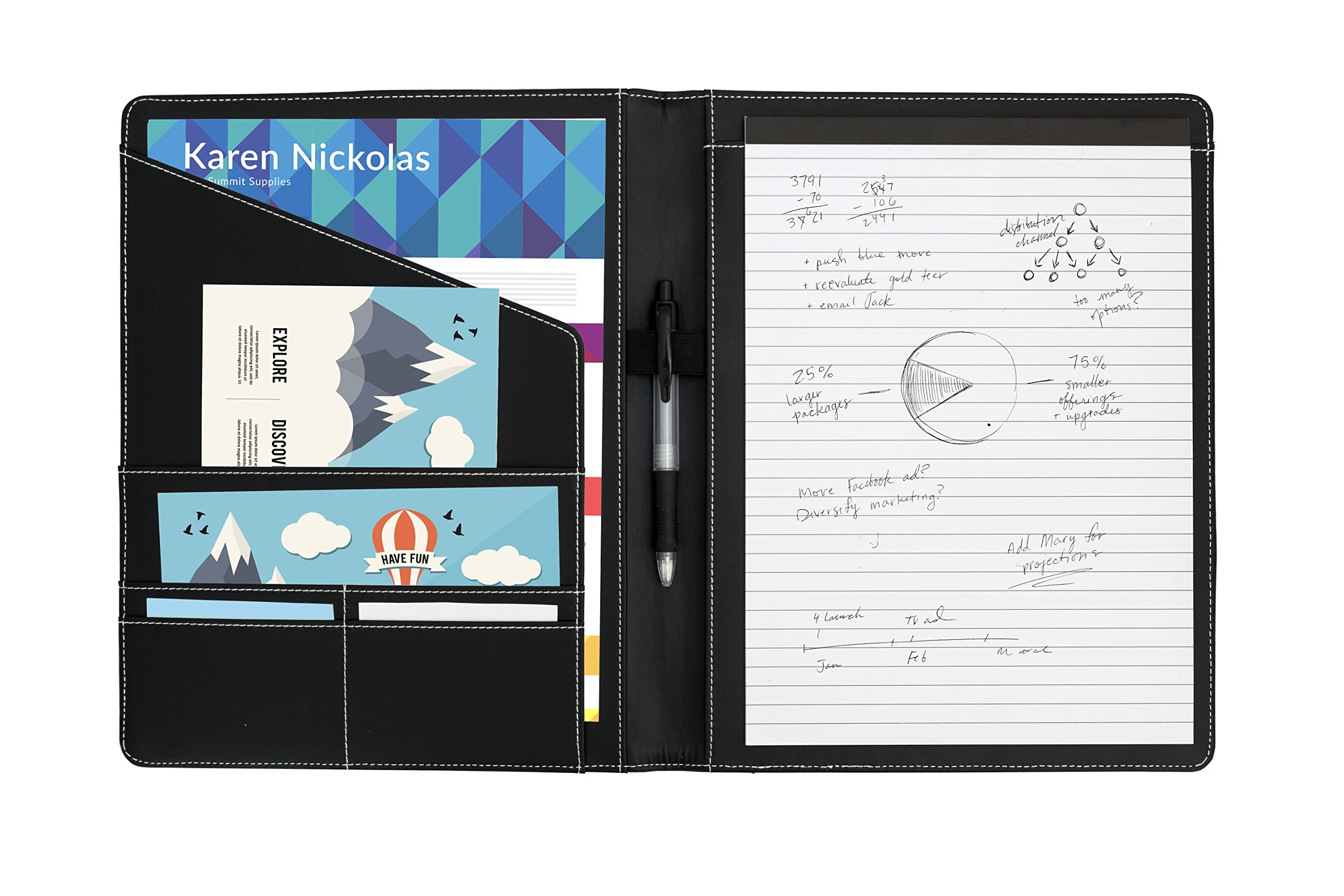 Executive PU Leather Portfolio, Designed for Professional Meetings and interviews, Padfolio with Legal pad and Business Card Slots (-502)