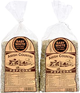 product image for Amish Country Popcorn | 2 - 2 lb Bags | Baby White Popcorn Kernels | Small and Tender | Old Fashioned with Recipe Guide