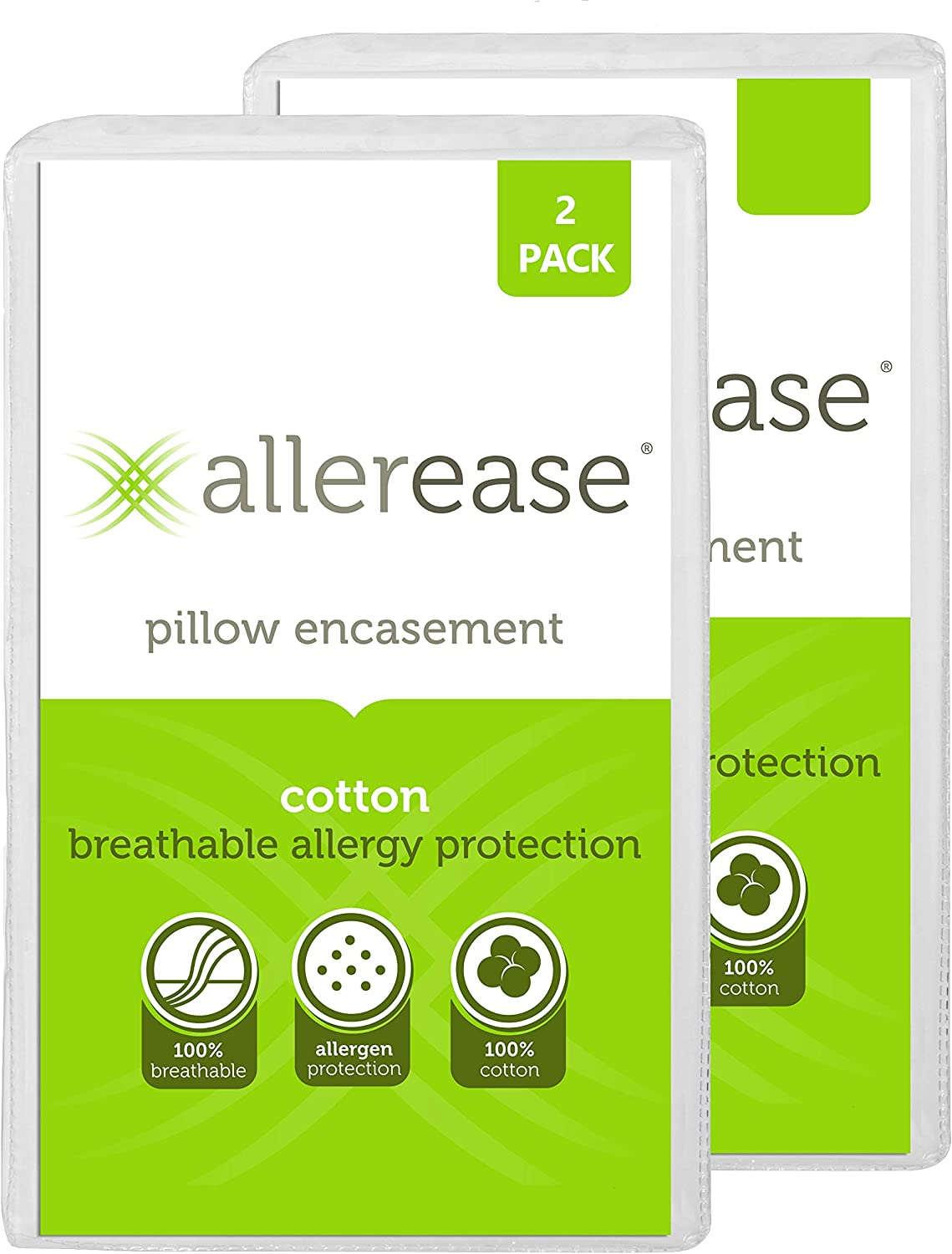 """AllerEase 100% Cotton Allergy Protection Pillow Protectors – Hypoallergenic, Zippered, Allergist Recommended, Prevent Collection of Dust Mites and Other Allergens, King Sized, 20"""" x 36"""" (Set of 2): Home & Kitchen"""
