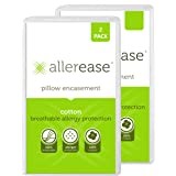 AllerEase 100% Cotton Allergy Protection Pillow Protectors – Hypoallergenic, Zippered, Allergist Recommended, Prevent…