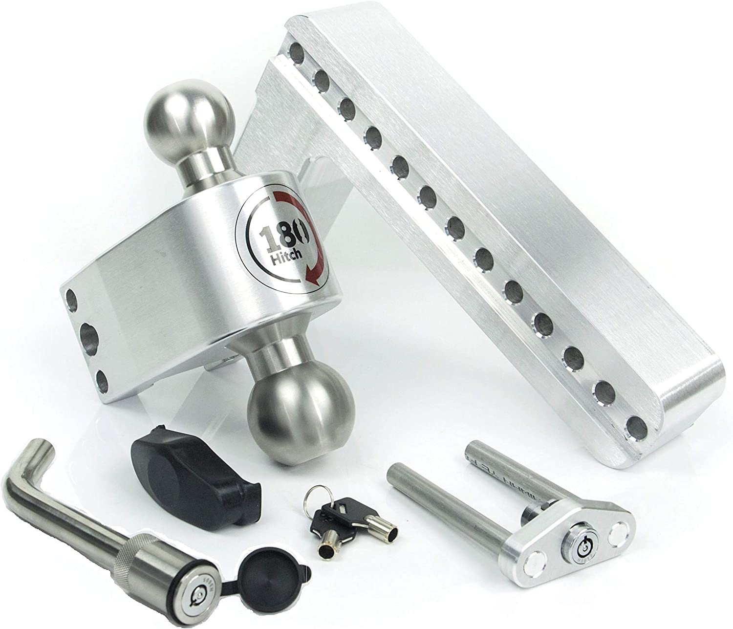 Keyed Alike Key Lock Hitch Pin 8 Drop 180 Hitch w// 2.5 Shank//Shaft Adjustable Aluminum Trailer Hitch /& Ball Mount 2 /& 2-5//16 Stainless Steel Combo Ball Weigh Safe LTB8-2.5-KA