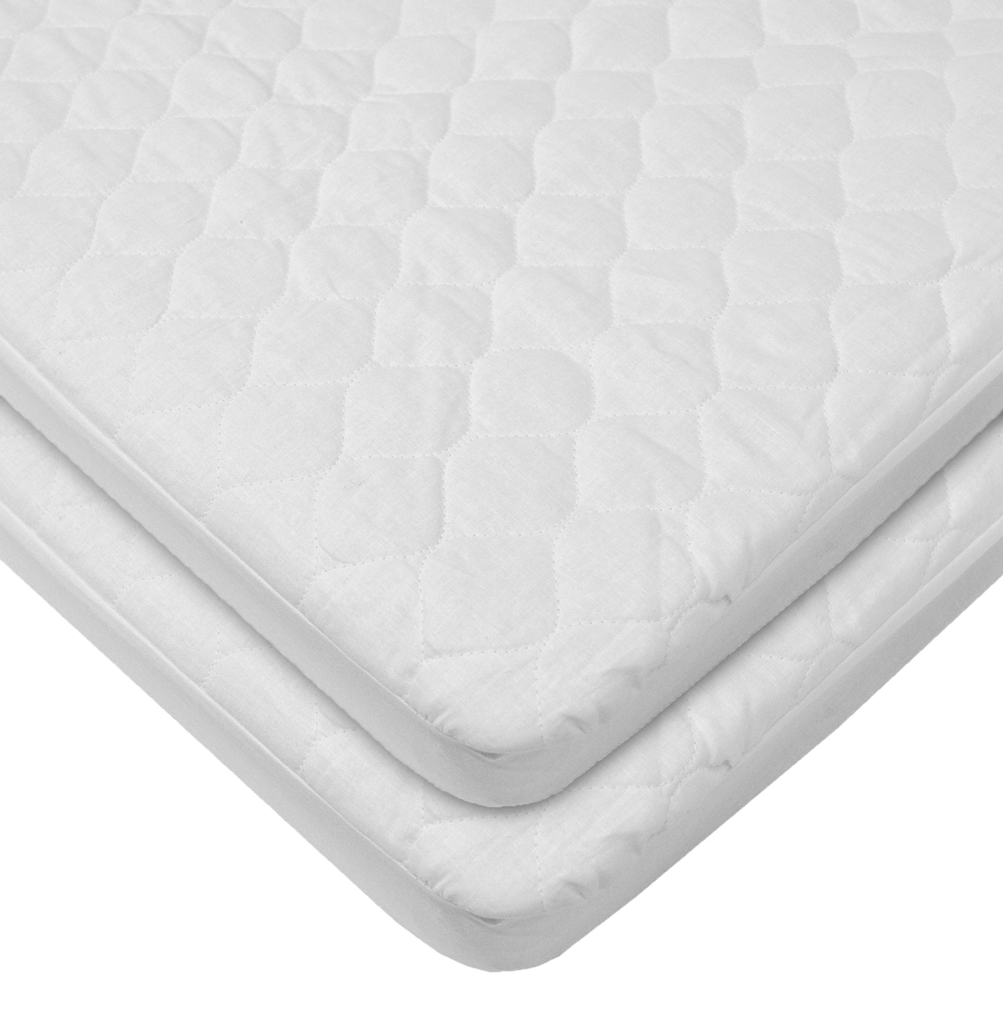 American Baby Company Waterproof fitted Quilted Portable/Mini Crib Mattress Pad Cover, 2-Count