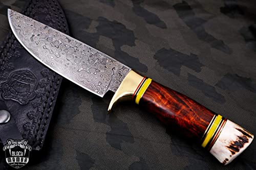 Bmk-175 Red Diamond Knife 12 in Long 6.5 in Blade 14 Ounce Damascus Fixed Blade Hunting Knife Hand Made Word Class Knives