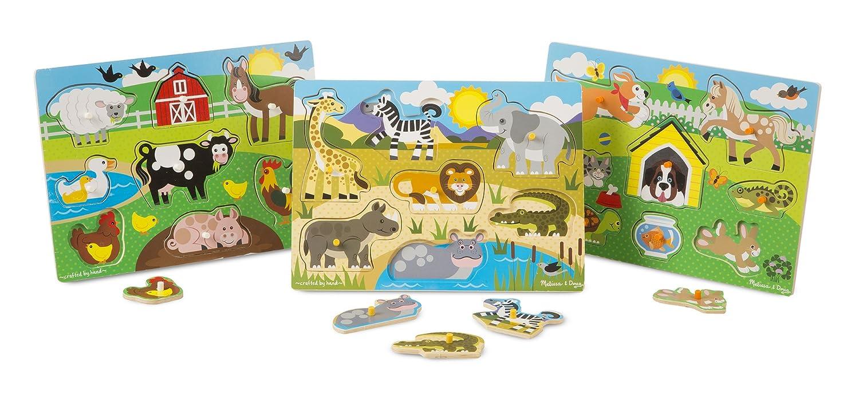 Melissa & Doug World of Animals Wooden Peg Puzzles Set - Pets, Farm, and Safari Melissa and Doug 93176