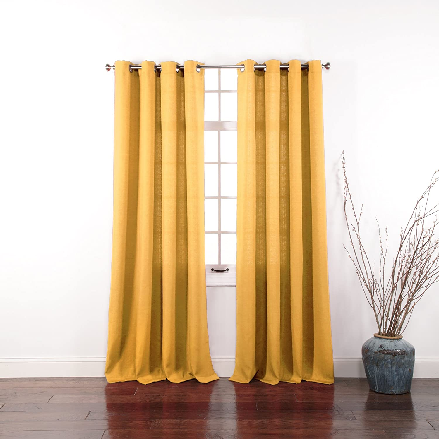 Mustard yellow curtain panels - Amazon Com Stylemaster Gramercy 56 Inch By 84 Inch Grommet Panel Ecru Home Kitchen