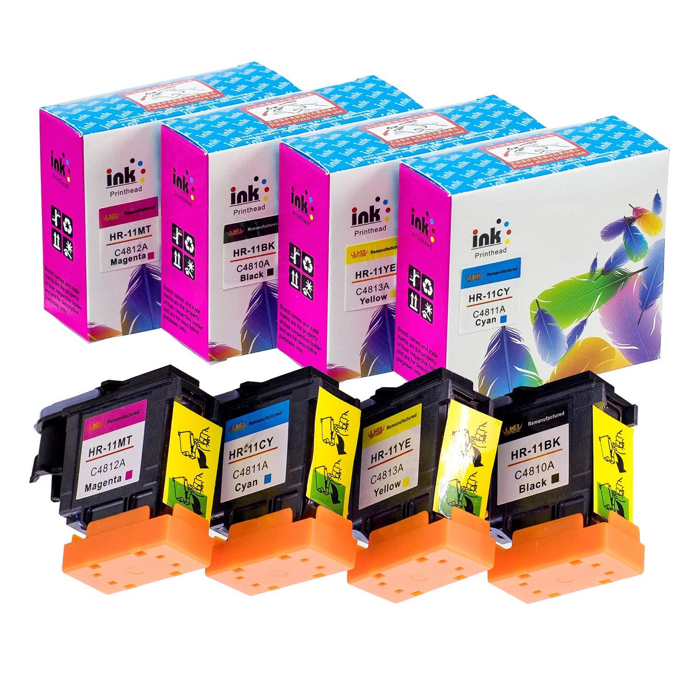 LKB Remanufactured 4PK HP11 Printhead Replacement for HP Printer C4810A C4811A C4812A C4813A (1M 1C 1Y 1BK) –US