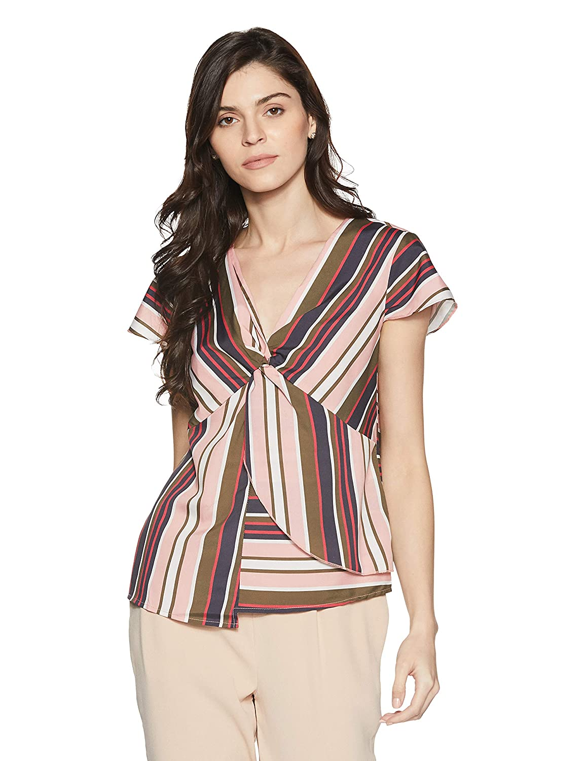 Stalk Buy Love Women's Crepe Striped Sharon Knotted Blouse amazon fashion end of season sale