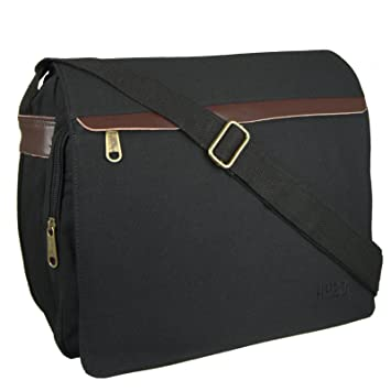 7f66ee8abfc Hey Hey Twenty - Mens Canvas Messenger Bag with Real Leather Trim, Colour    Black