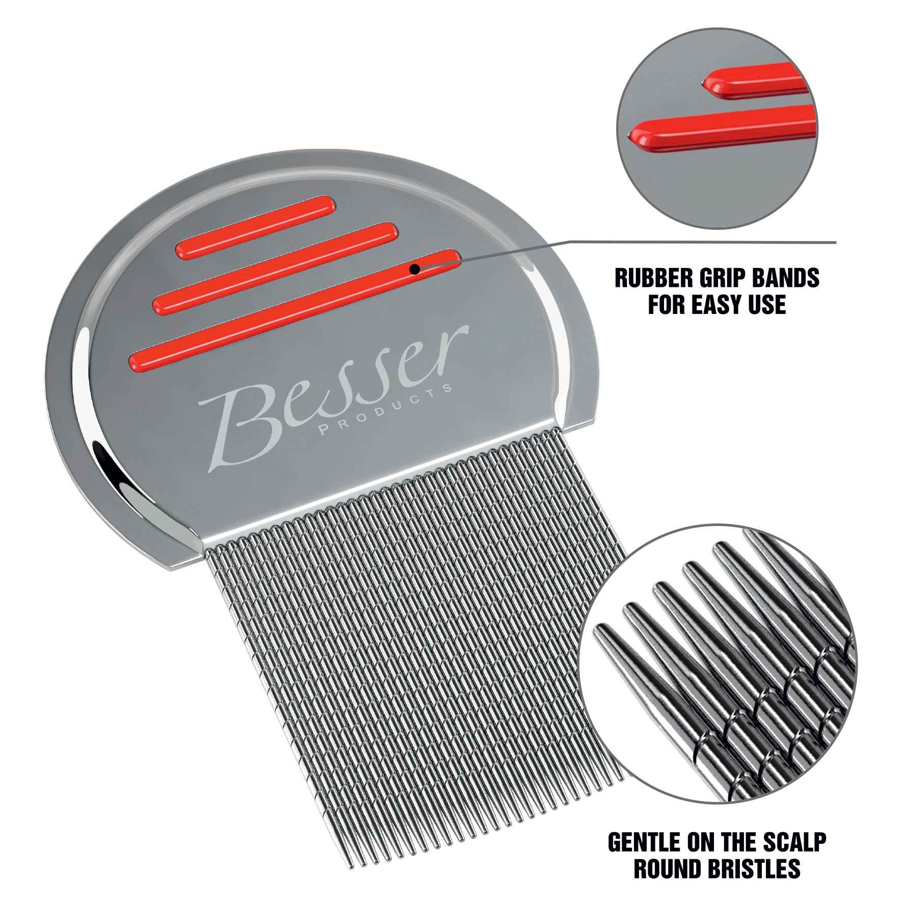Stainless Steel Head Lice Comb - Pro Grade Louse and Nit Removal - Grooved, Rounded Teeth for Comfort and Best Results - Colors May Vary - by Besser Products (3) by Besser Products