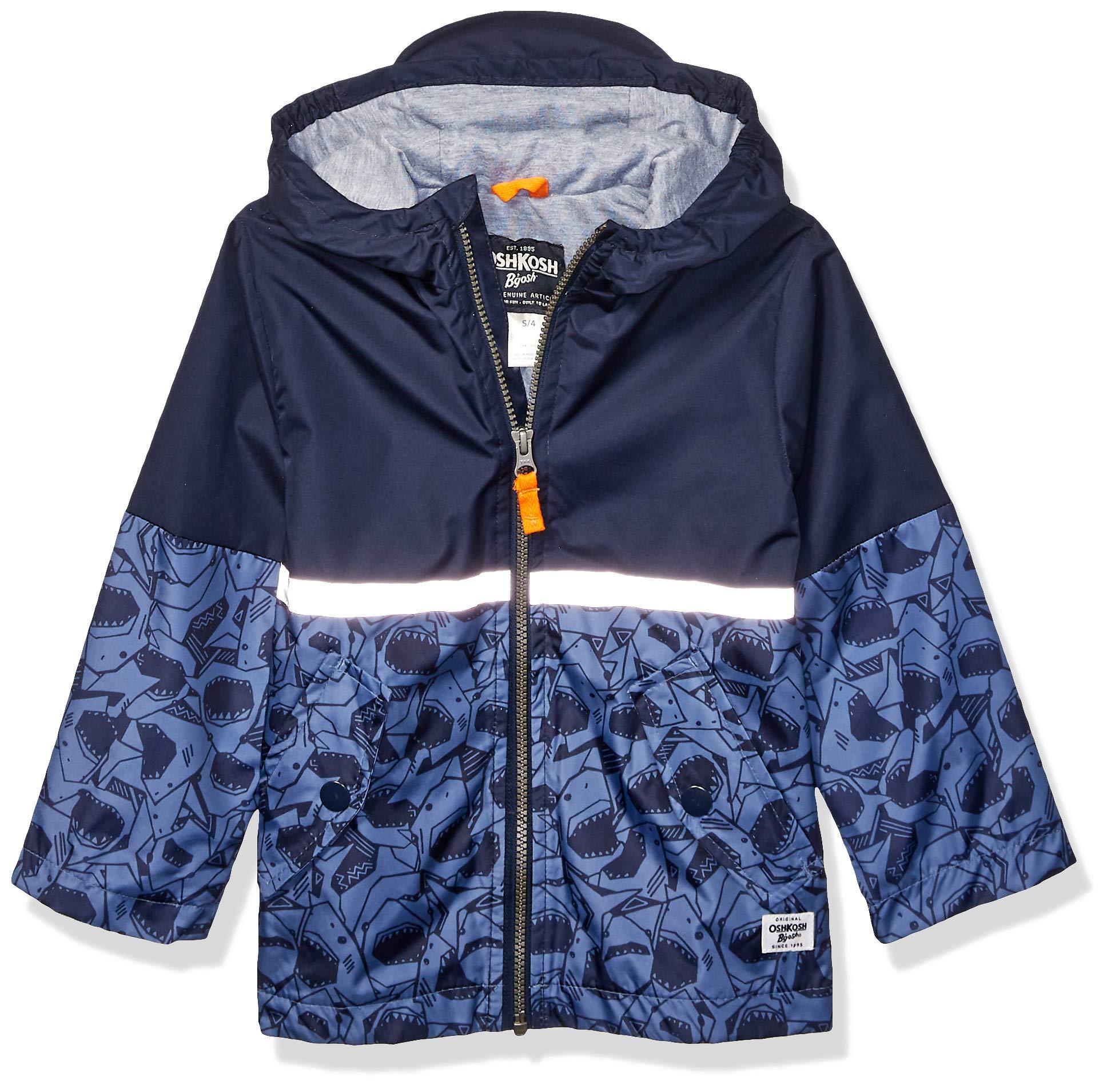 OshKosh B'Gosh Boys' Little Perfect Rainjacket Rainslicker Raincoat, Navy Shark with Reflective, 7 by OshKosh B'Gosh