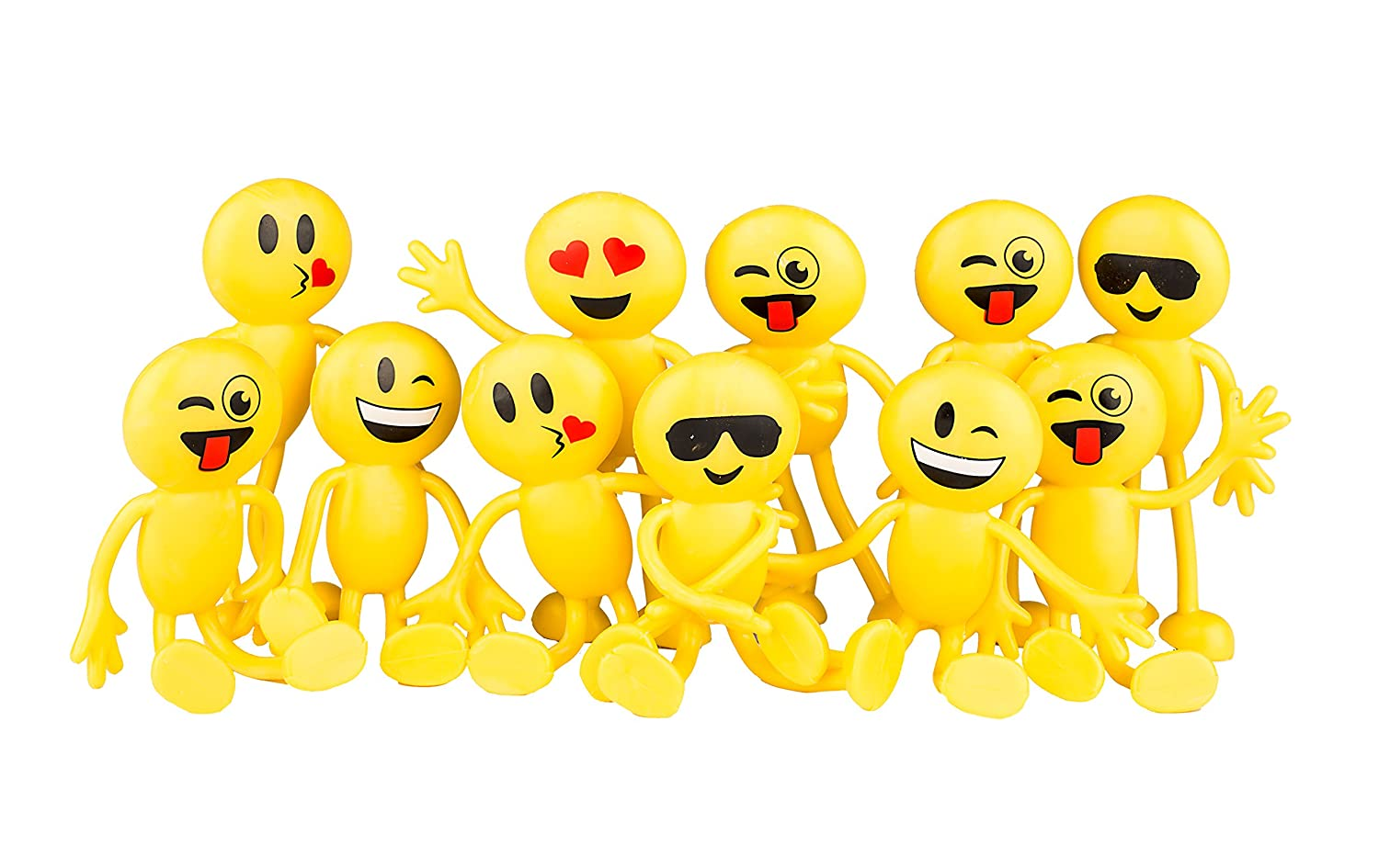 Neliblu Emoji Party Favors Fun Toys 1 Dozen 4.5 Emoji Smiley Face Emoticon Bendable Figures Bulk pack of 12 By