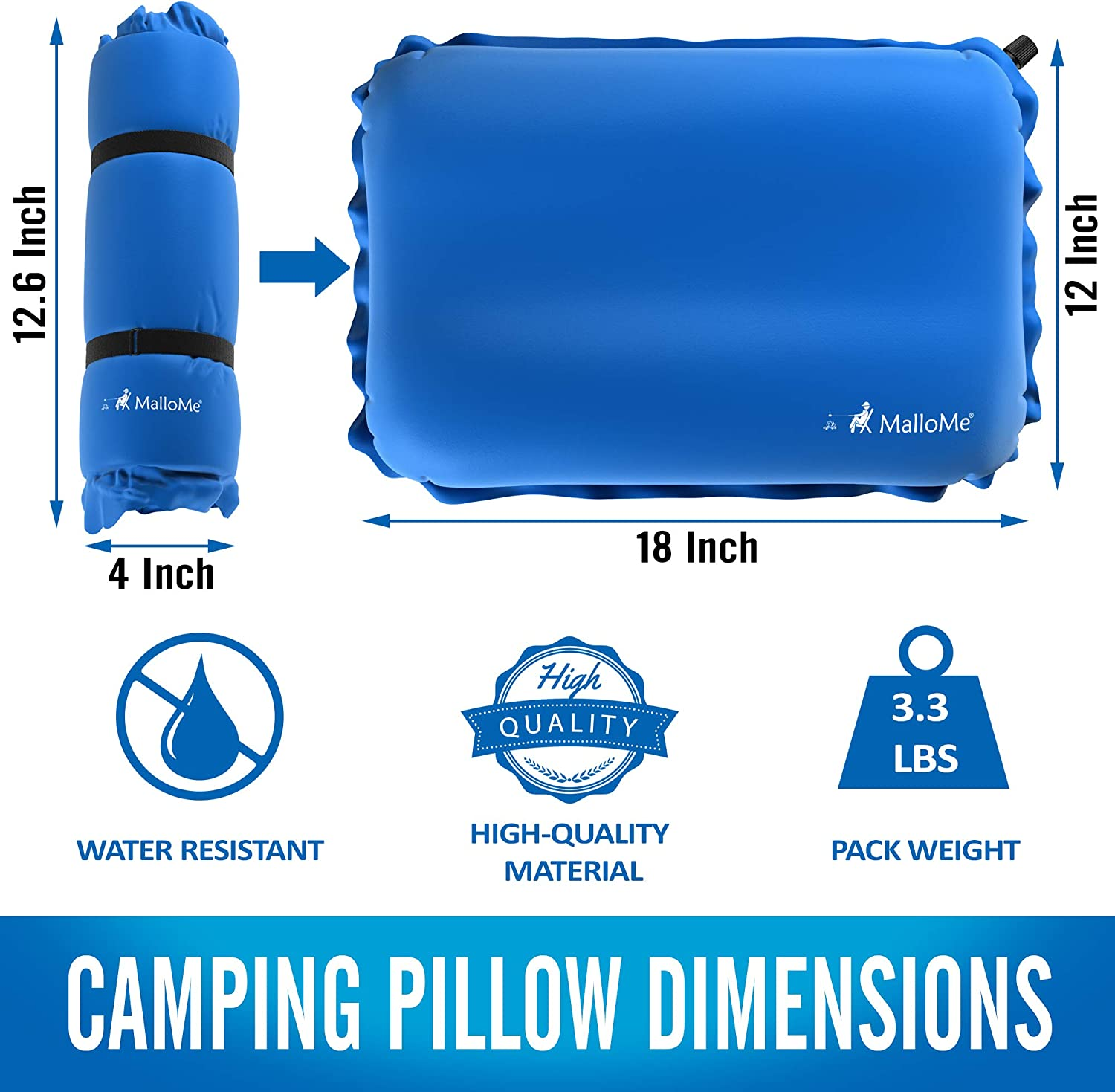 Small Mini Air Size Ultralight Inflating Compressible Compact Portable Gear Accessories Hiking Backpacking Camp Pillows for Sleeping Bag Pad MalloMe Inflatable Camping Travel Pillow