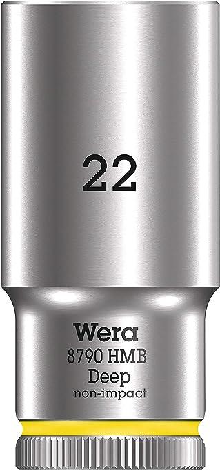 Wera 05004544001 Llave de Vaso 3//8 22.0 mm Amarillo Brillante