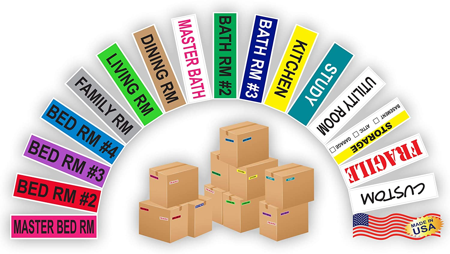 Kenco Color Coded Moving Labels - Full Box Pack - Includes Fragile Moving Supplies Packing Stickers (Room Pack)