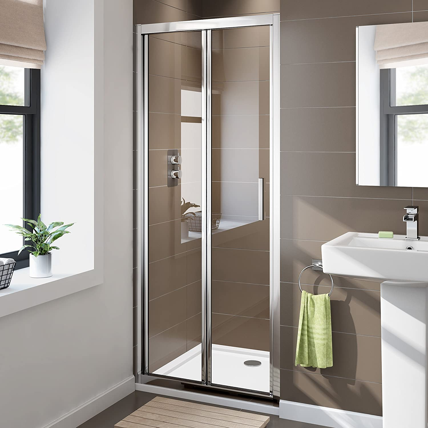Ibathuk 900 X 900 Bifold Easy Clean 6mm Glass Shower Enclosure