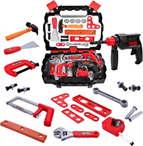 Toy Choi's Pretend Play Series Kids Toy Box Tool Set, 25 Pieces for Toddlers with Power Toy Drill, Toy Hammer, Pretend Play Construction Accessories and A Sturdy Case, Tool Kit for Boys and Girls