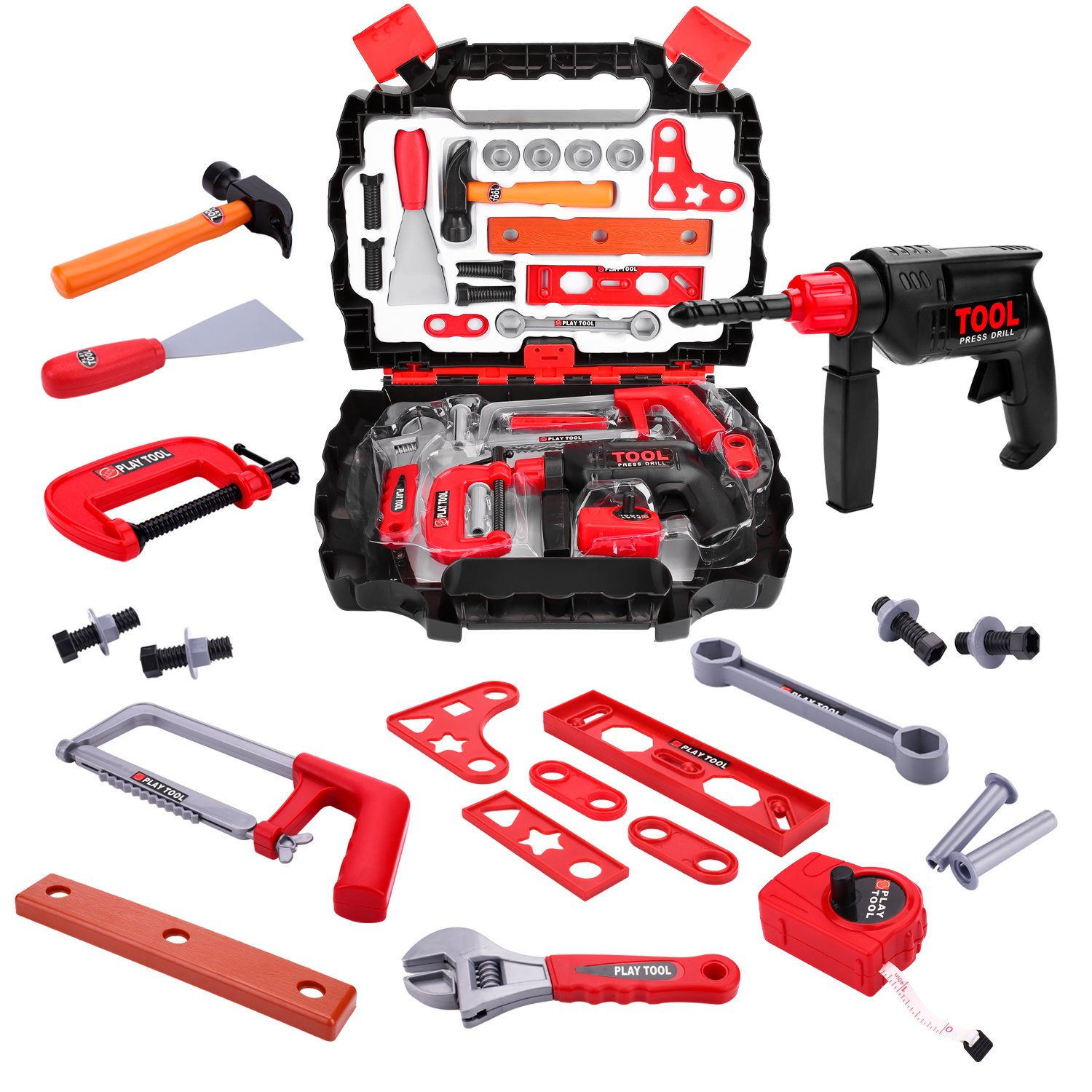27 Pieces Kids Pretend Play Tool Kit, Boys Construction Toy Tool Sets in Sturdy Case for Toddlers