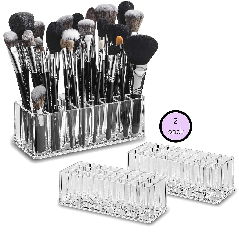 byAlegory Set of 2 Acrylic Makeup Brush Organizer Cosmetic Holder 24 Space Storage