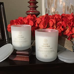 DW Home White Christmas Premium Scented Candle - Richly Scented Candle Fresh Bright Aroma of Winter with a hint of Mint and Ginger (Medium)