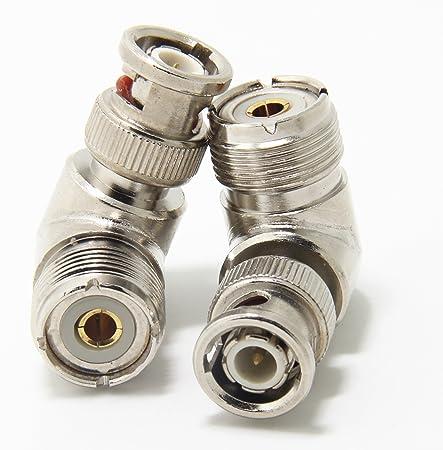 Pack de 2 Adaptadores Ancable de UHF Pl-259&Nbsp;Hembra A Bnc Macho, ÁNgulo Recto