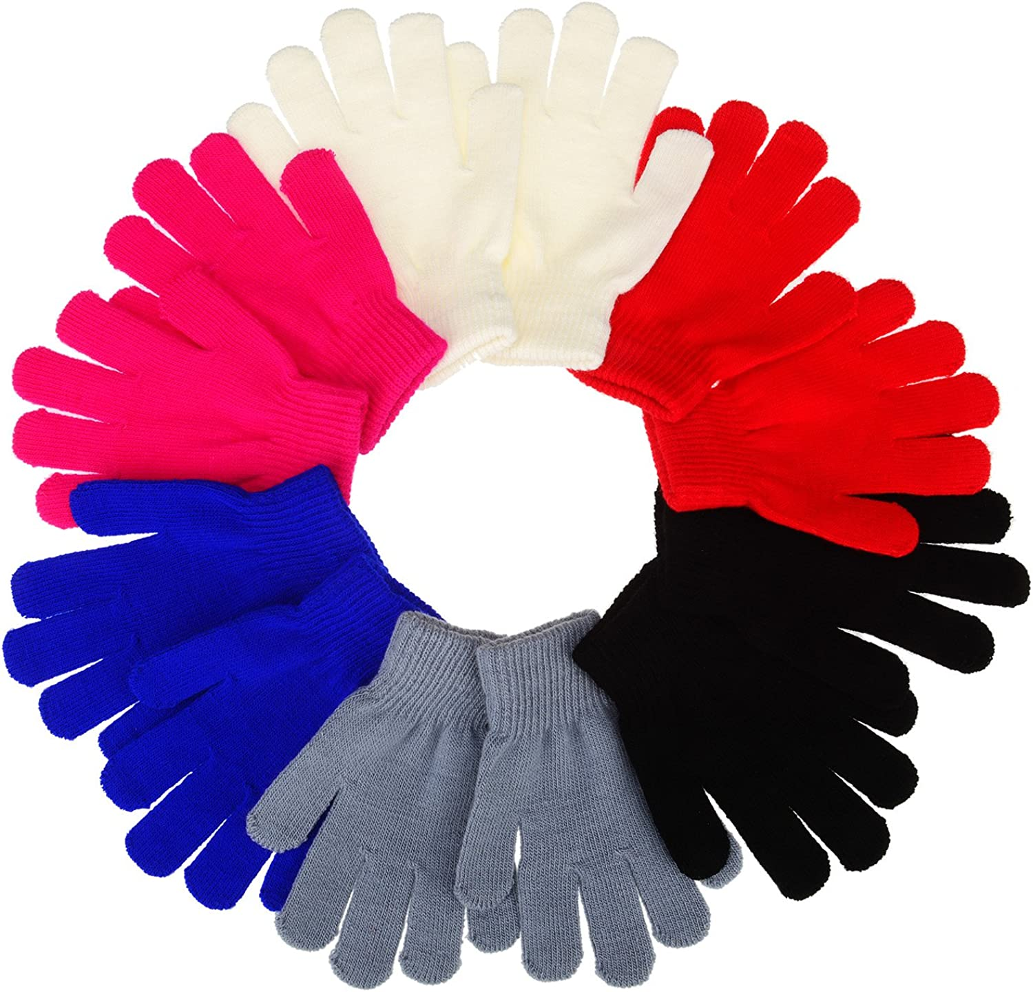 Sumind 12 Pairs Winter Knitted Magic Stretch Gloves Anti-slip Knit Cotton Warm Gloves for Children