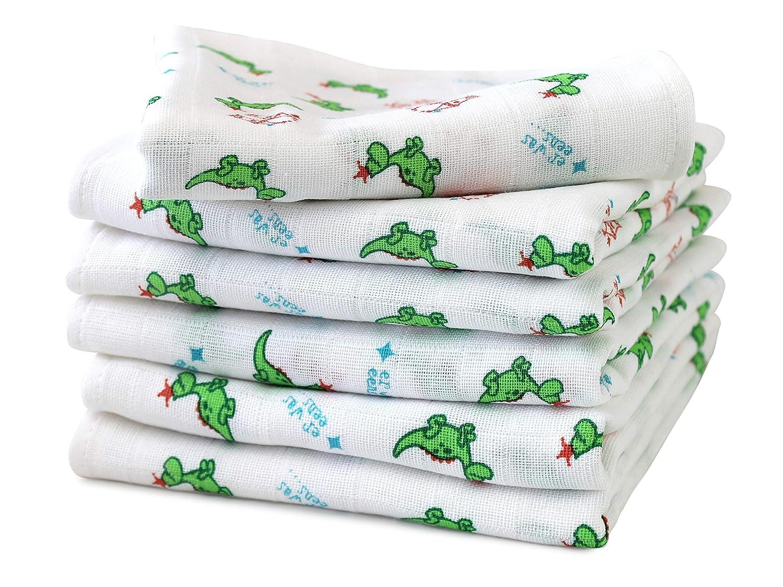 6er Pack zum Sparpreis - Mullwindel für Babys & Kleinkinder - bedruckt mit kleinen Drachen im Alloverdesign auf weißem Grund - Einheitsgröße ca. 70 x 70 cm - vielseitig verwendbar npluseins