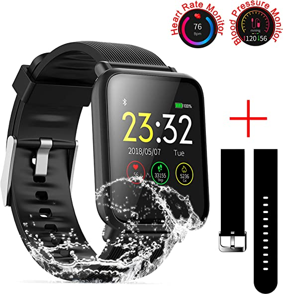 SZHAIYU Blood Pressure Heart Rate Monitor Smart Watch Android iOS IP67 Waterproof Sport Fitness Trakcer Watch Men Women Smartwatch (Black)