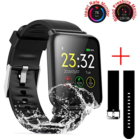 SZHAIYU Blood Pressure Heart Rate Monitor Smart Watch Android iOS IP67 Waterproof Sport Fitness Trakcer Watch Men Women Smartwatch (Black)