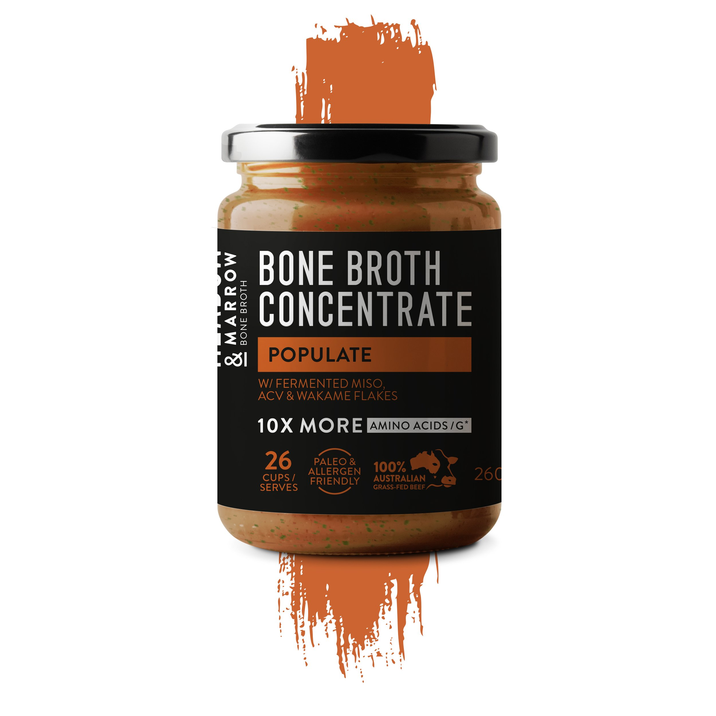 Populate - Performance Bone Broth Concentrate Range- 9.17oz Improves Digestion, Balance Gut Flora, Anti-Ageing. Traditional Miso with Apple cider vinegar & Wakame flakes.