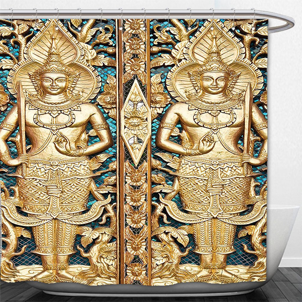 Interestlee Shower Curtain Rustic Decor Collection Thai Gate at Wat Sirisa Tong Thailand Buddhism Architecture History Spiritual Picture Golden Teal