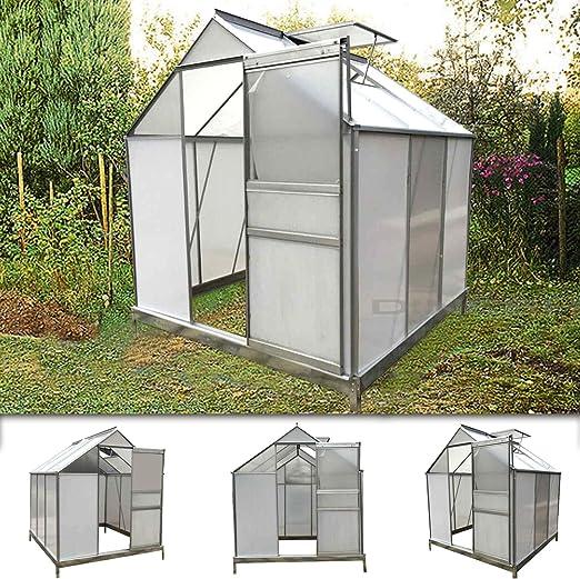 GWH02) aluminio Invernadero con base de acero 5, 7 m³ Vivero Jardín Invernadero Jardín: Amazon.es: Jardín
