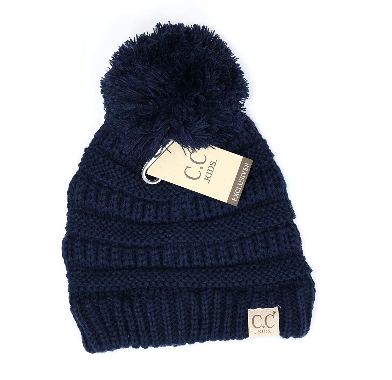 8f9b54554f5 Women s Kids Solid Pom CC Beanies One Size Black at Amazon Women s Clothing  store