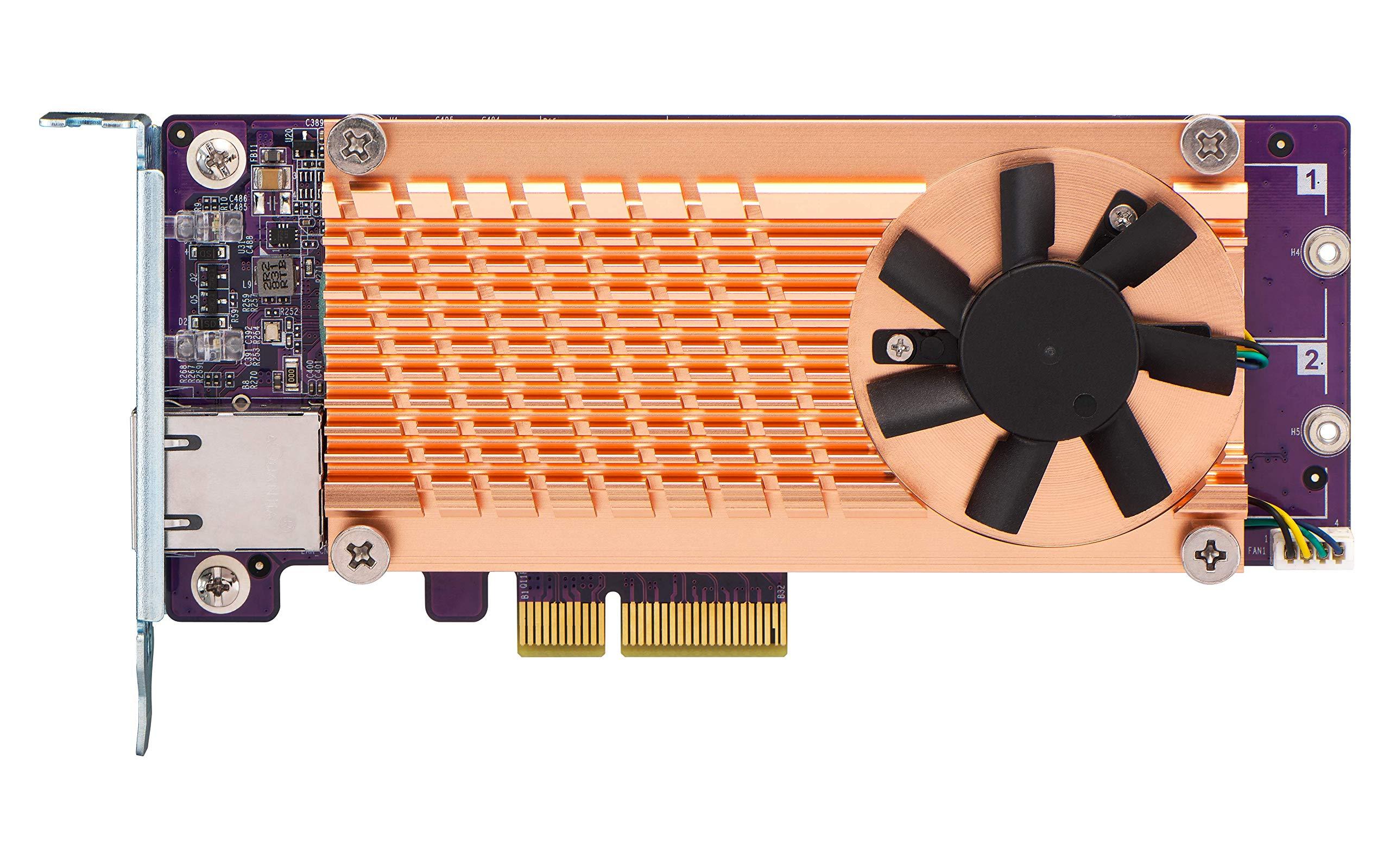 QNAP QM2-2P10G1TA PCIe Expansion Card with 2 x PCIe 2280 M.2 SSD Slots by QNAP