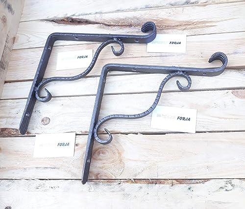 Soporte forja para estante o estanteria de madera (Set de 2 ...