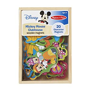 "Melissa & Doug Disney Mickey Mouse Wooden Character Magnets, Developmental Toys, Wooden Storage Case, 20 Disney-Inspired Magnets, 8"" H x 5.5"" W x 2"" L"