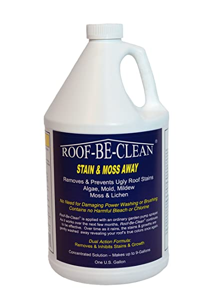 RoofBeClean Liquid Roof Cleaner For Removing Ugly Roof Stains From Moss,  Lichen, Algae,