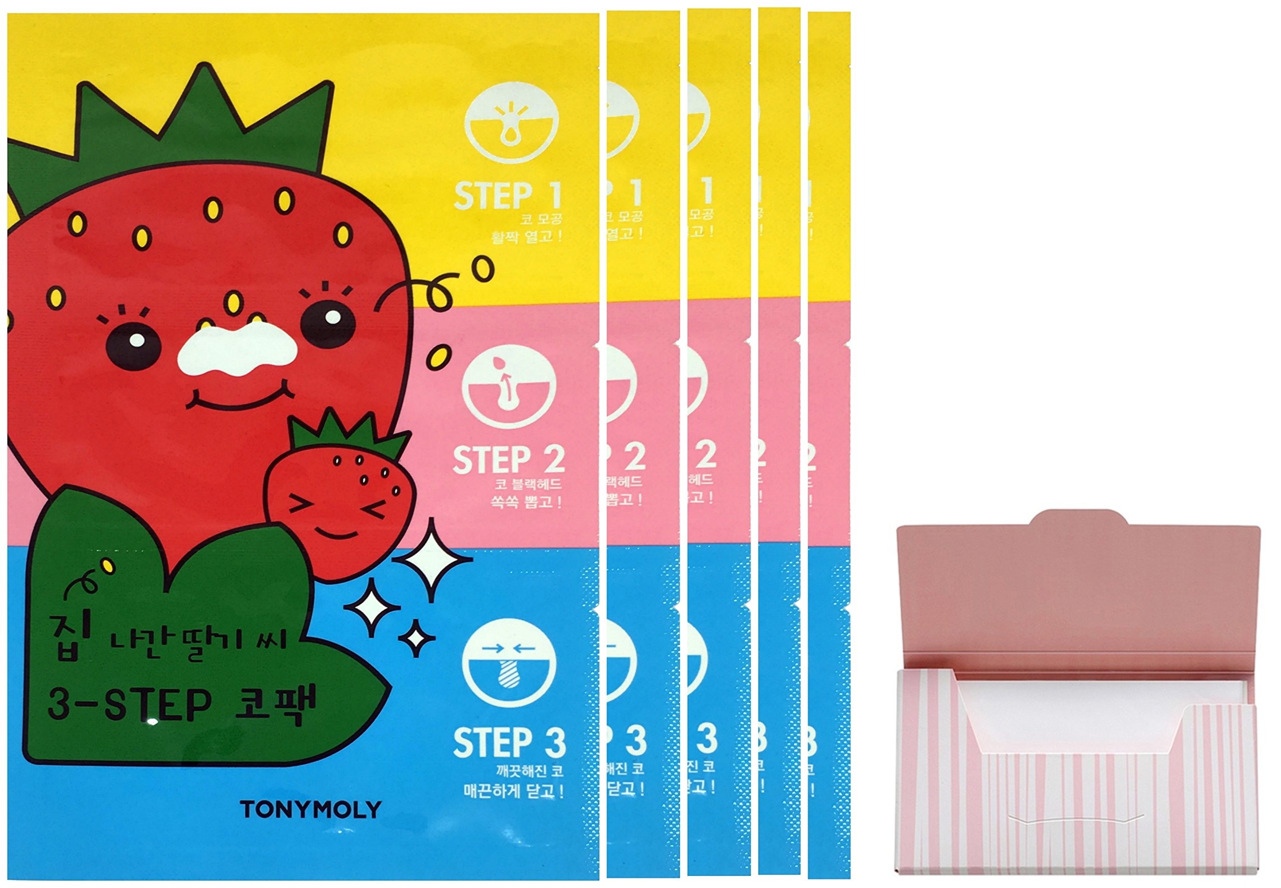 Seedless Strawberry Seeds 3-step Nose Pack 5 Set Bundle with Oil Blotting Paper